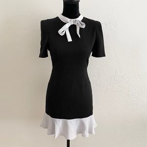 Black Fitted Short Dress with White Trim and Necktie